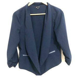 Navy blazer with ruched sleeves and zipper pockets